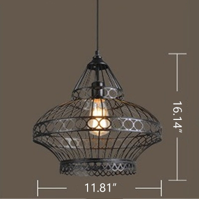 Industrial Hanging Pendant Light with Lantern Metal Cage Shade in Black
