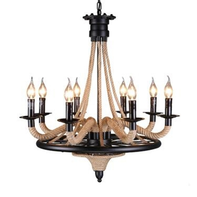 Vintage Chandelier 8 Light With E14 Lighting Candle Plate Wrought Iron And Rope Fixture