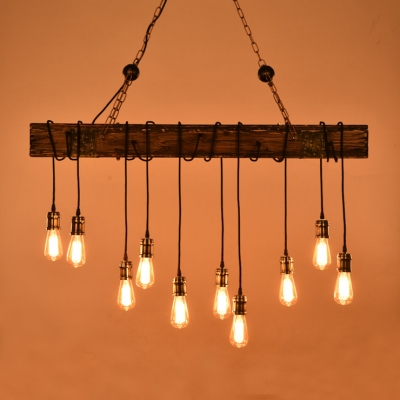 Industrial 10 Light Multi Light Ceiling Light with Wood Accent