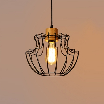 Industrial Pendant Light with Metal Cage in Black