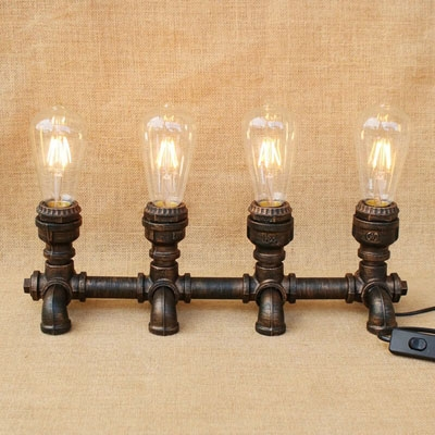 Industrial Retro Desk Lamp 4 Light in Open Bulb Style with Creative Pipe Fixture Design