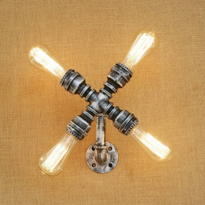 Industrial Wall Light 4 Light Fan Shape Pipe Fixture Arm in Sliver for Hallway