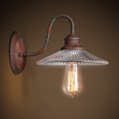 Industrial Wall Sconce Gooseneck Fixture Arm with Ribbed Clear Glass Shade in Rust Finish HL449302 фото