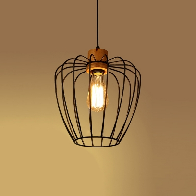 Vintage Pendant Light with Wire Cage in Black