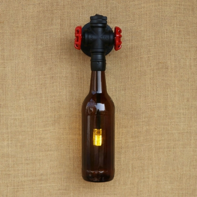 Industrial Vintage Wall Sconce with Double Valve Decorative Pipe Fixture with Colorful Wine Bottle Shade