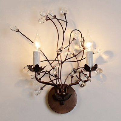 Delicately Styled Wall Sconce Features Hand-fashioned Crystal Flowers