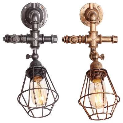 Industrial Wall Light Retro Vintage with Metal Cage Frame with Black ...