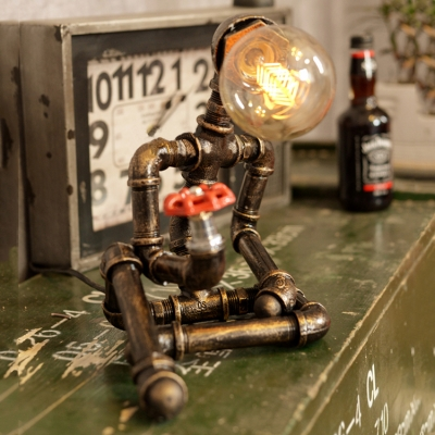 Vintage Pipe Desk Lamp with 10''H Robert Shape Base