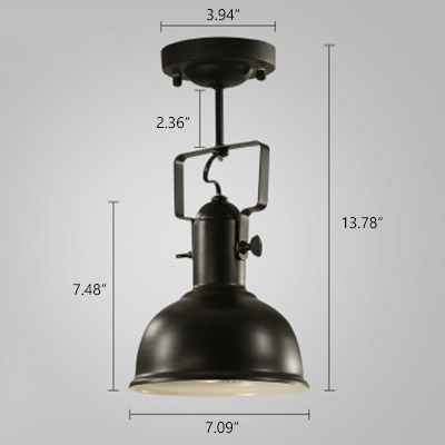 Industrial Semi Flushmount Ceiling Light with Bowl Shade, Black