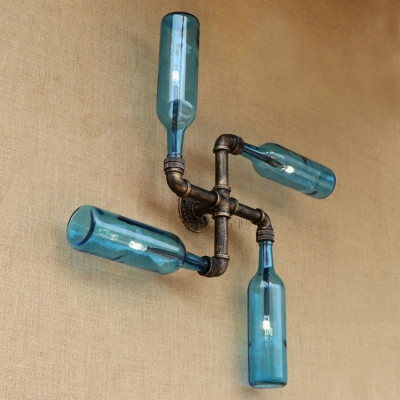 Industrial 4 Light Pipe Wall Sconce with Wine Bottle Glass Shade, Blue