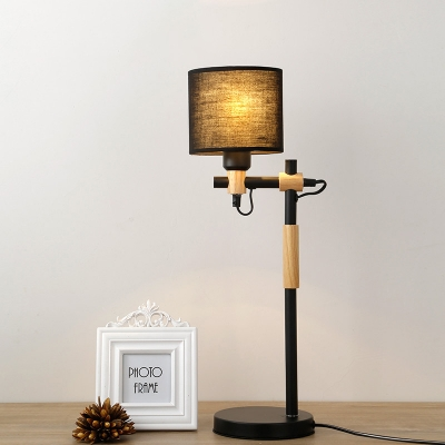 Industrial Adjustable Desk Lamp with Fabric Shade, Black/White