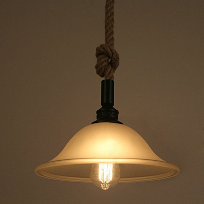 Industrial Hanging Pendant Light Rope Hanging Fixture Arm with Vintage Frosted Glass Shade