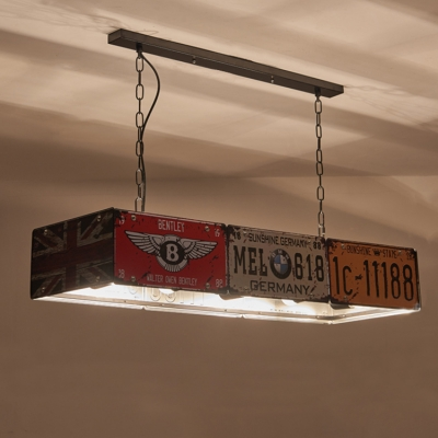 Industrial Multi-Light Pendant Light with Rust Rectangle Shade, 5 Lights