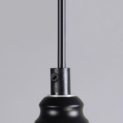 Industrial Wrought Iron  Single Pendant Light with Dome Metal Frame in Black