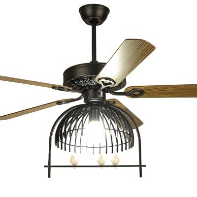 Industrial Fan Semi Flush Ceiling Light Birdcage Shade