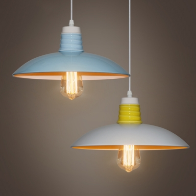 Industrial Pendant Light in Nordic Style with 12.6''W Dome Metal Shade