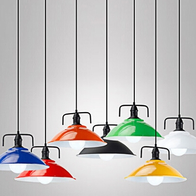Baycheer / Industrial Pendant Light with 14.17''W Dome Metal Shade in Colorful Finish