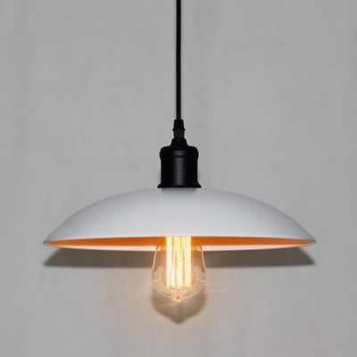 Industrial Pendant Light with 15.75''W Dome Metal Shade, Black/White