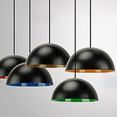 Industrial Pendant Light with 11.81''W Bowl Shade, Black, HL452736, Blue;gold;green;red;yellow