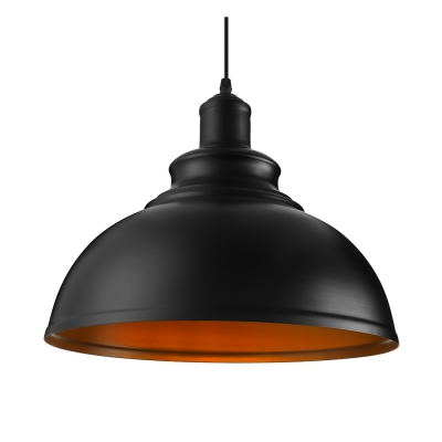 Industrial Pendant Light with 14.17''W Metal Shade in Black