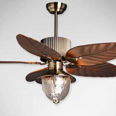 Industrial Semi Flush Ceiling Light Fan Leafy Blade with Clear Glass Lantern Shade