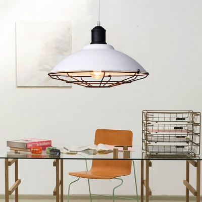 Industrial Pendant Light with MetaL Cage in White