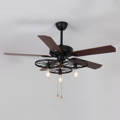 Industrial Fan Ceiling Fixture Gear In Wrought Iron Style Beautifulhalo Com