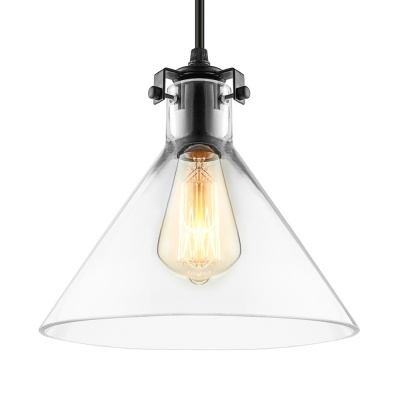 Cone clear glass single light hanging industrial led pendant cone clear glass single light hanging industrial led pendant lighting in black aloadofball Images