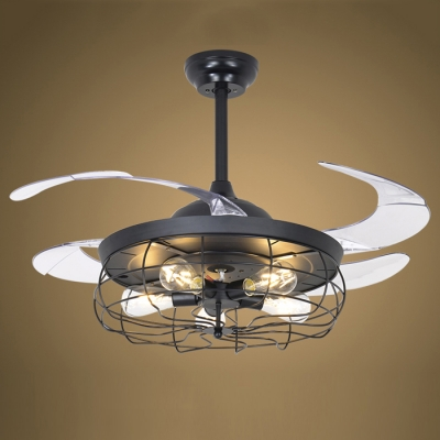 Industrial Fan Ceiling Light Fixture Metal Cage with Transparent Blade