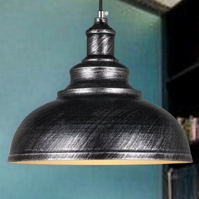 Vintage Pendant Light with 14.17''W Metal Shade in Antique Brass/Silver Finish