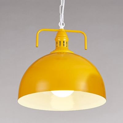 Industrial Pendant Light With 15.75u0027u0027W Dome Metal Shade In Yellow/Red/