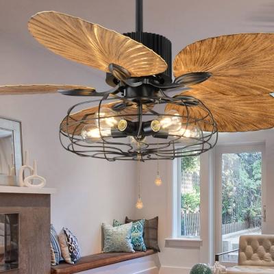 Industrial Fan Semi Flush Mount Lighting with Walnut Blade