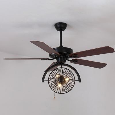 Industrial Fan Ceiling Fixture Gear in Wrought Iron Style,3 Light