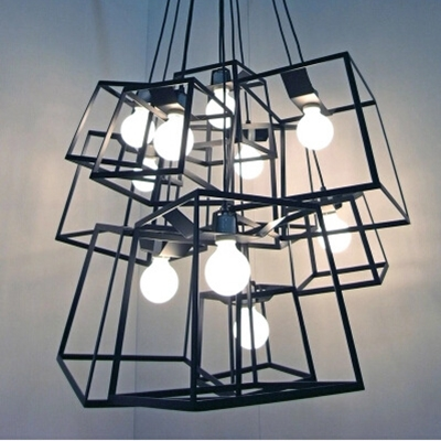 Industrial Mini Pendant Light with 9.84''W Square Metal Shade