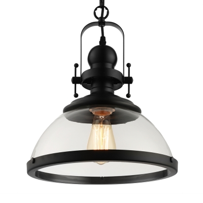 Industrial Pendant Light with 12'W Bowl Glass Shade, Black for Dining Room Staircase