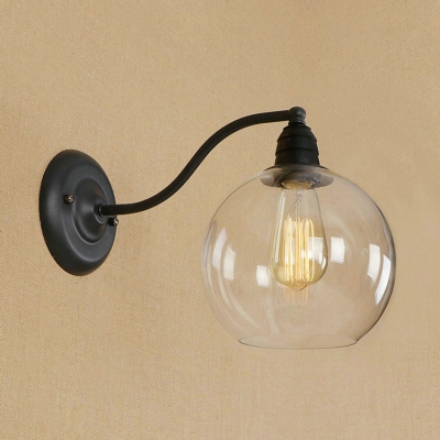 Industrial Wall Light with 5.91''W Globe Glass Shade in Black Finish