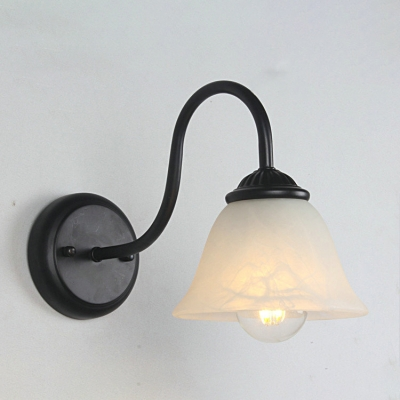 Industrial Wall Sconce with 6''W Bell Shape Glass Shade