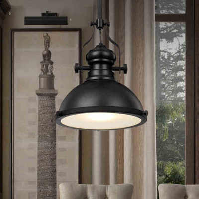 Industrial Pendant Light with 15.75''W Bowl Shade, Black