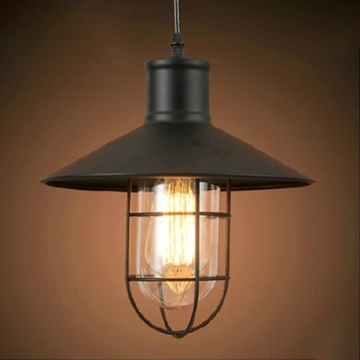 Industrial Pendant Light with Metal Cage, Black