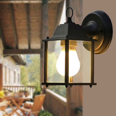 Industrial Wall Sconce Light with Square Glass Shade in Black Finish