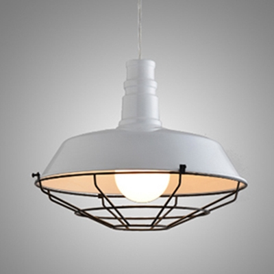 Industrial Ceiling Pendant Light with 14.17''W Metal Cage
