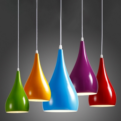 """Industrial Pendant Light in Nordic Style with 6""""W Dome Shade, HL453978, Black;blue;green;red;white;purple;yellow"""