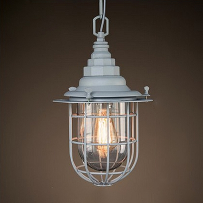 Industrial Pendant Light in Nautical Style with Clear Glass Shade, White