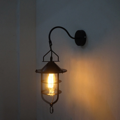 Industrial Wall Sconce with Gooseneck Fixture Arm in Nautical Style, Black
