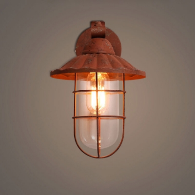 Industrial Wall Sconce with Metal Cage and Glass Shade in Nautical Style, Rust