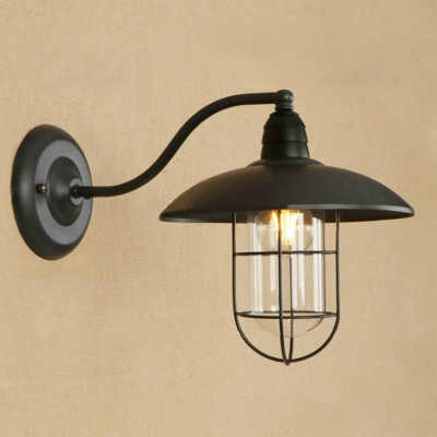 Delightful Industrial Nautical Wall Sconce With Glass Shade And Metal Cage