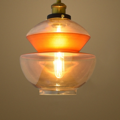 Industrial Pendant Light with 8.66''W Clear Glass Shade HL454072 фото