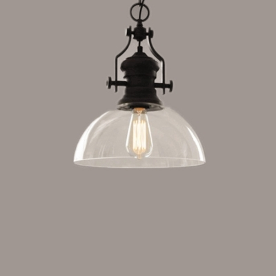 Baycheer / Single Light Bowl Lighting Fixture Industrial Glass Shade Pendant Light in Black Finish for Staircase