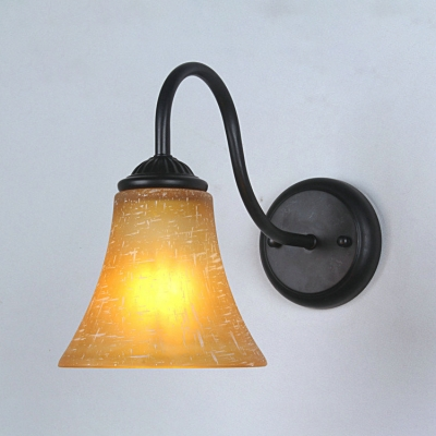 Industrial Wall Sconce with Gooseneck Fixture Arm in Amber Finish