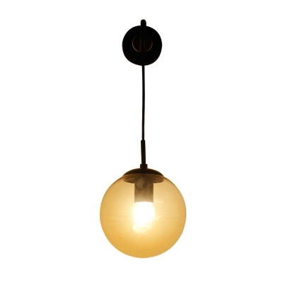 Industrial Hanging Wall Sconce with 7.09''W Globe Glass Shade, Black